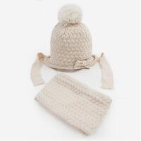 秋冬女童帽子围巾两件套保暖针织毛线帽小孩帽子