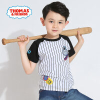 托马斯童装男童2017夏新品休闲圆领黑白条纹拼接纯棉短袖T恤
