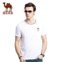 camel骆驼男装 2017夏季新款时尚简约棉质圆领青年商务休闲短袖T恤衫男