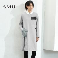 【AMII超级大牌日】[极简主义]2016冬新品侧开衩直筒羊毛混纺毛呢连衣裙21674382