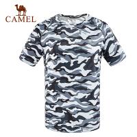 camel骆驼运动情侣款圆领短袖T恤 男女时尚迷彩透气排汗T