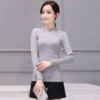 �莱2017春装新款韩版短款半高领毛衣打底衫女春装长袖套头针织衫
