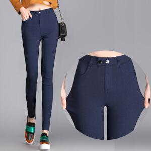 2017新款打底裤外穿长裤紧身黑色小脚裤双扣贴皮高腰大码铅笔女裤MN915