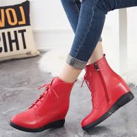 娜箐箐冬新款休闲牛皮坡跟圆头短筒靴女鞋真皮高跟骑士靴女靴