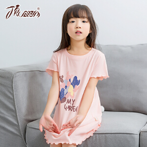 顶瓜瓜儿童睡衣夏季女童纯棉圆领短袖睡裙印花家居裙