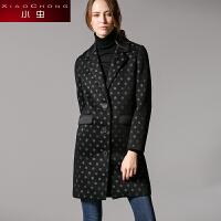 小虫 秋冬新款波点外套修身中长款西装上衣女风衣
