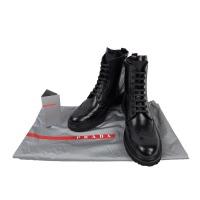 Prada普拉达女款黑色皮质系带侧拉链欧美时尚女靴3T5938 黑色