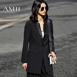 Amii[极简主义]2017春装新帅气立领一粒扣修身西装女11790420