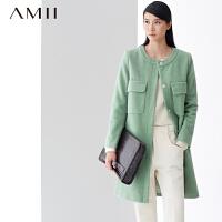 【AMII超级大牌日】[极简主义]2016冬新品可拆卸小披肩长款纯色羊毛呢大衣女11480402