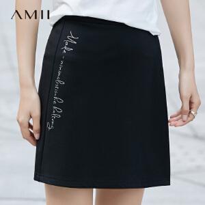 Amii[极简主义] 2017春通勤简约微弹印花直筒半身裙11720233
