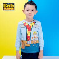 BOB童装巴布工程师春新款男童纯棉轻薄绒卫衣中大童圆领套头卡通休闲长袖上衣
