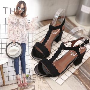 粗跟凉鞋女夏季中跟2017新款学生百搭女士高跟鞋韩版夏天女鞋子潮ZR-518