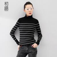初语冬季新款女装文艺干练高领撞色条纹套头毛针织衫女8540423807