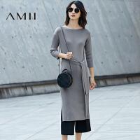 【预售】【AMII超级大牌日】2017春女新纯色针织绑腰带修身毛衣连衣裙11770964