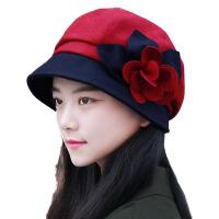 女秋冬圆顶青中年渔夫盆帽秋冬百搭女士礼帽毛呢帽子