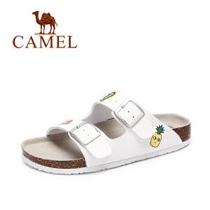 camel骆驼女鞋 夏季新品 休闲百搭沙滩拖鞋女 彩绘童趣拖鞋