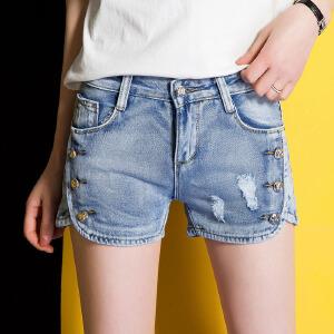 2017韩范小脚修身直筒女装牛仔裤百搭短裤时尚女裤潮流夏季热裤