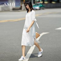 Amii[极简主义] 2017夏装新款宽松V领绑带插袋开衩连衣裙11772011