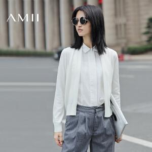 【AMII超级大牌日】[极简主义]2017年春新品修身立领无扣开襟毛针织开衫女装薄外套