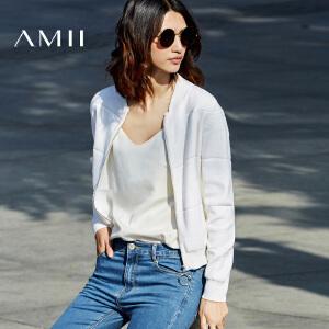 Amii[极简主义]2017春新大码时尚棒球领拉链条纹毛针织衫11771361