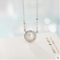 S925纯银珍珠项链锁骨链女简约韩国时尚短颈吊坠