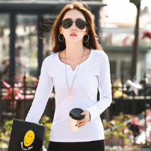 2017春装新款韩版百搭纯色V领显瘦纯棉长袖T恤大码女士打底衫体恤WK5198