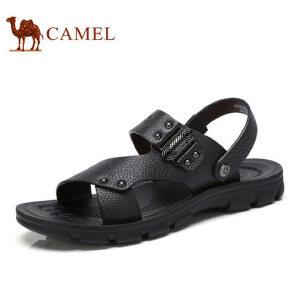 camel骆驼男鞋 2017夏季新款 休闲男凉鞋 日常休闲真皮牛皮男凉鞋