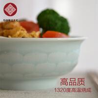 舌绽莲花青白瓷高温碗 餐具创意陶瓷米饭碗中式健康饭碗