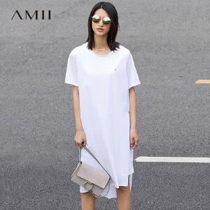 Amii[极简主义]2017春女棉金属扣大码套头圆领T恤连衣裙11781104