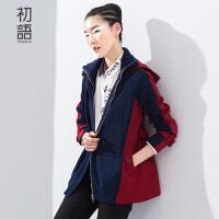 初语年春装上新 宽松长袖中长款拼接短外套女装 8611402002