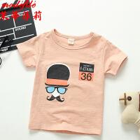 茉蒂菲莉 男童T恤 2017夏季新款儿童印花纯棉短袖限时抢韩版宝宝短袖卡通圆领上衣童装