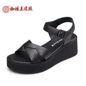 蜘蛛王女凉鞋坡跟2017夏季新款露趾透气女鞋高跟一字型扣带凉鞋女
