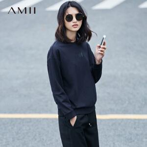 【预售】Amii2017春新品宽松罗纹圆领落肩立体印花卫衣11720900
