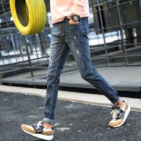 潮男秋装天黑色牛仔裤男士修身小脚裤男韩版牛仔长裤