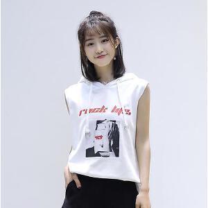 【当当年中庆】夏季新款韩版女装宽松显瘦中长款带帽无袖套头卫衣女学生