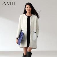 【AMII超级大牌日】[极简主义]2016冬新品小圆领暗扣撞色拼接口袋长款毛呢大衣外套11480577