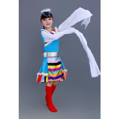 少儿民族演出服儿童表演服藏族蒙古族舞蹈女童水袖连衣裙