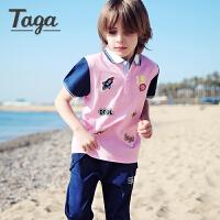 【满200-100】taga童装男童短袖t恤中大童翻领POLO衫薄款夏装儿童印花上衣新品
