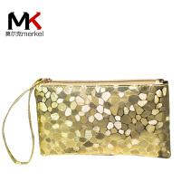 莫尔克(MERKEL)2017新款女钱包零钱包时尚石头纹拉链长款女士钱包钱夹简约女手拿包