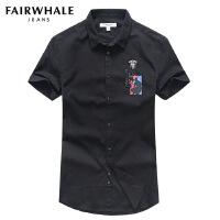 马克华菲短袖衬衫男2017夏季新款韩版修身黑色男士衬衣时尚印花潮