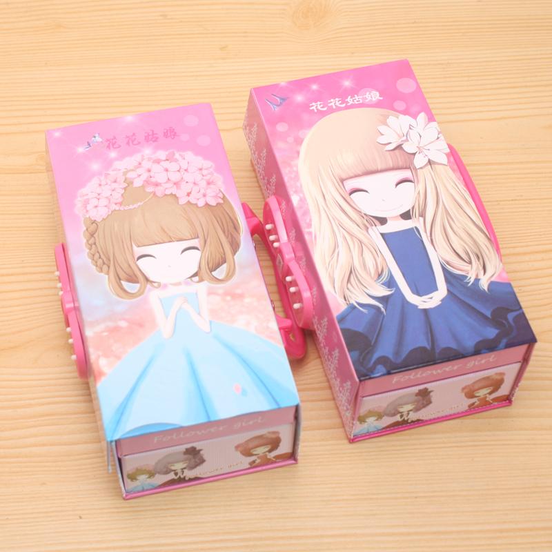 韩版纸质文具盒可爱三层密码锁公主文具盒kt猫铅笔盒 三层密码文具盒
