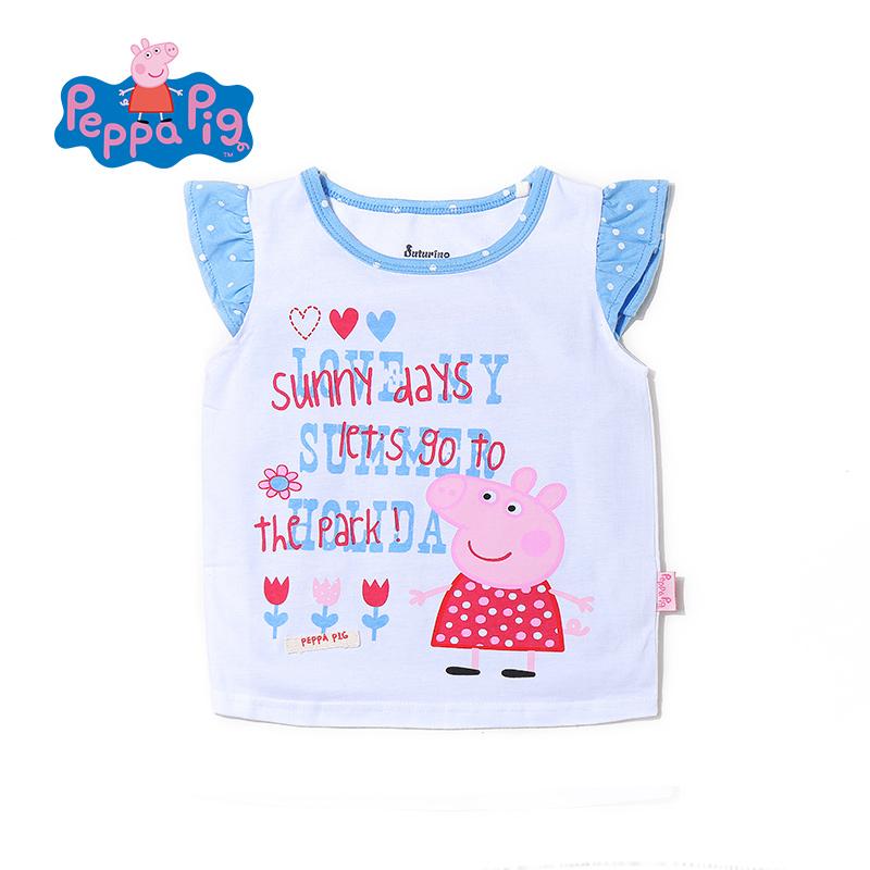 小猪佩奇正版童装女童夏装圆领纯棉小飞袖短袖T恤童趣可爱小猪印花2017夏季新款