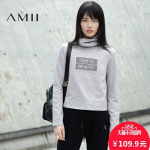【AMII超级大牌日】[极简主义]2017年春新品字母高领直筒长袖套头卫衣女21643422