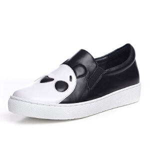 milkroses 搞怪熊猫牛皮低帮鞋