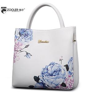 朱尔zooler新款女士包包手提包女欧美时尚魅力印花牛皮单肩女包