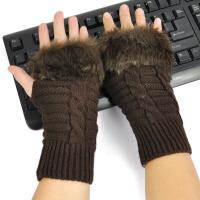 毛线手套女冬半指短款袖套保暖白色仿兔毛腕套
