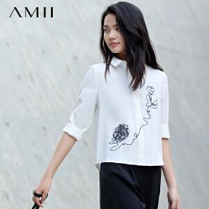 【AMII超级大牌日】[极简主义]2017年春季新款尖领印花长袖白色衬衫衬衣女士职业装