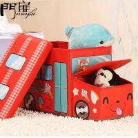 门扉 整理箱 整理收纳玩具收纳箱收纳凳折叠无纺布汽车收纳箱卡通儿童玩具整理箱储物凳子储物箱 收纳盒
