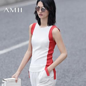 【预售】Amii2017夏新女大码休闲撞色拼接开衩针织背心11780119