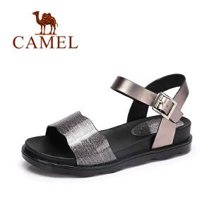 Camel/骆驼女鞋 夏季新款清凉防滑百搭凉鞋女 闪亮质感休闲凉鞋